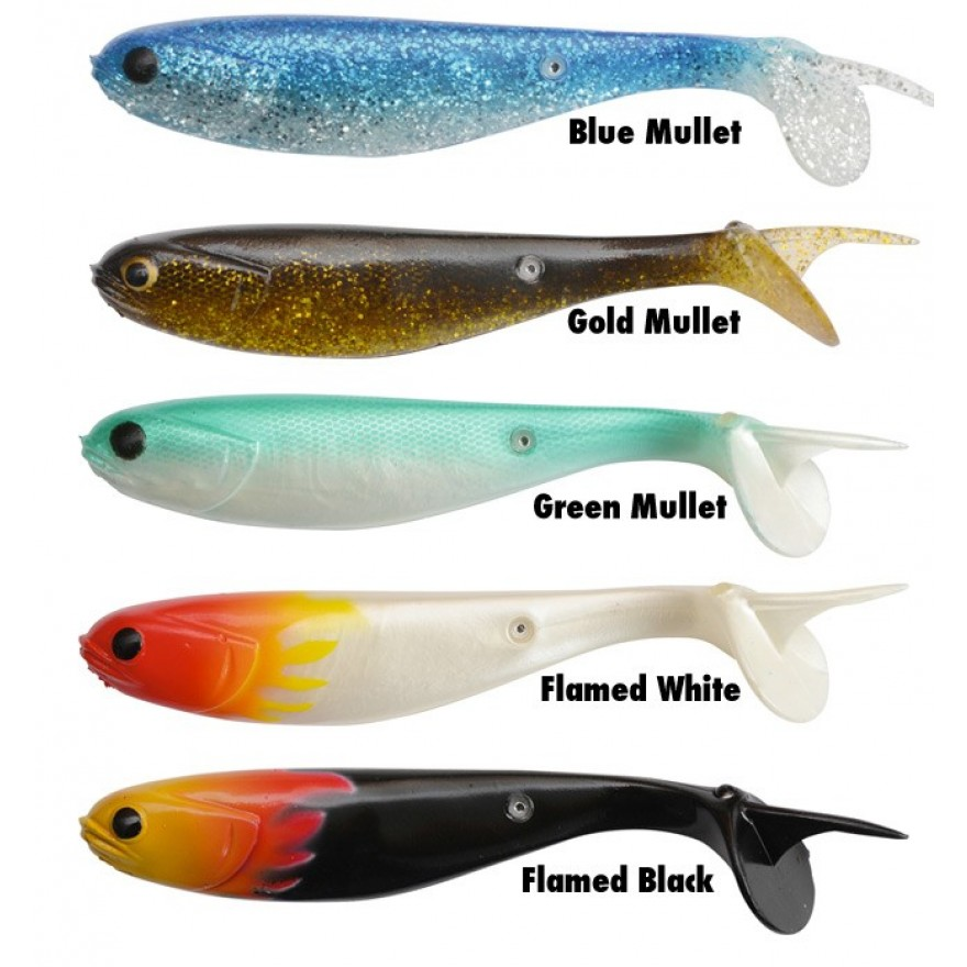 Black Cat Mullet Shad 15cm flamed white