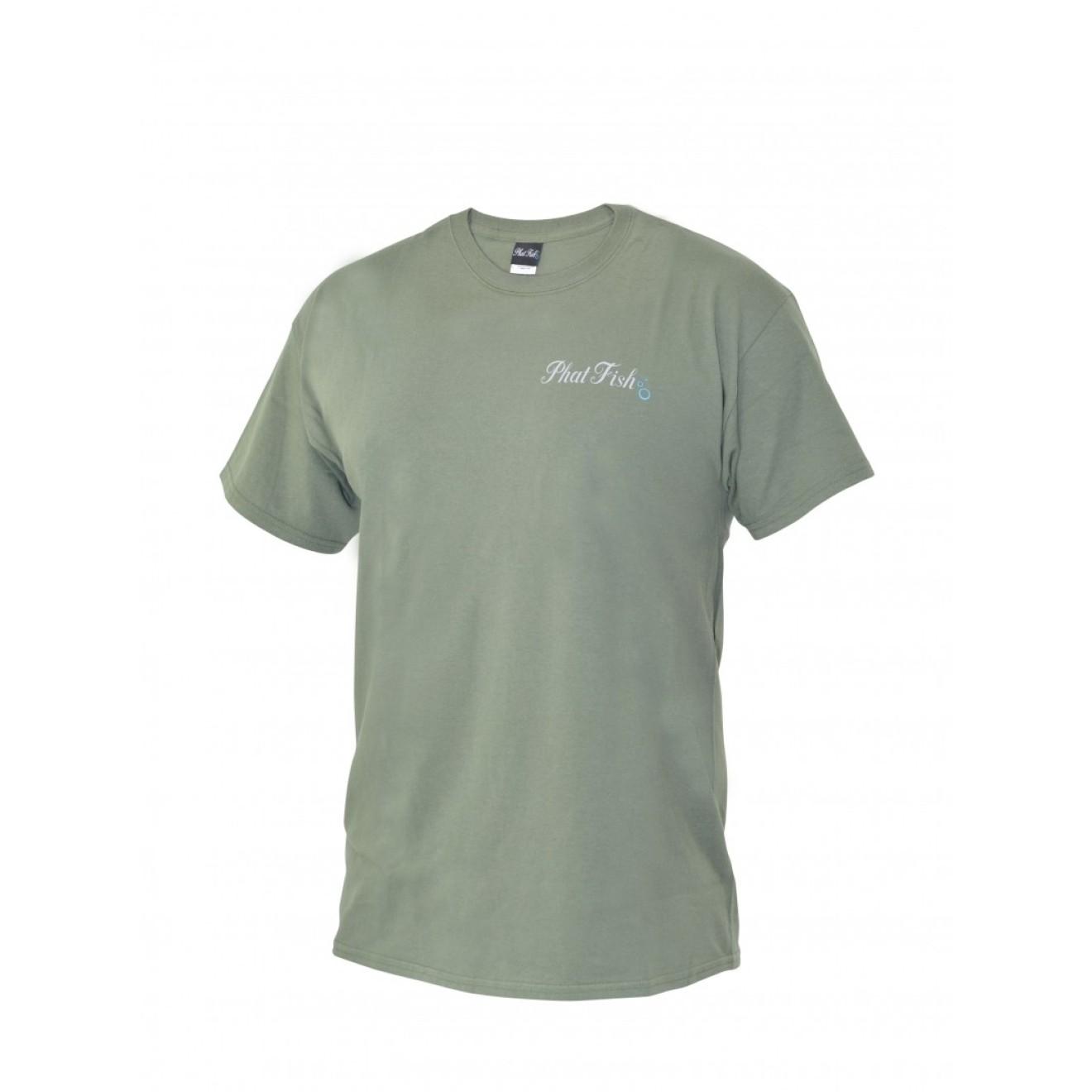 Phat fish logo t shirt khaki green xl carphunter co shop for Polo shirt with fish logo